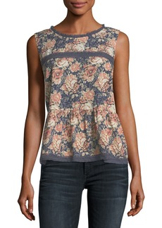 Current/Elliott The Peplum Floral-Print Tank w/ Lace