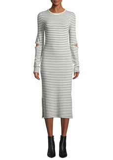 Current/Elliott The Quince Striped Cutout Long-Sleeve Midi Dress