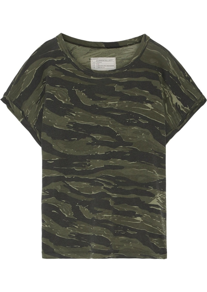 3c4f6e11d3888c Current Elliott The Rolled Crew camouflage-print cotton-jersey T-shirt