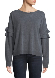 Current/Elliott The Ruffle Crew-Neck Wool-Cashmere Sweater