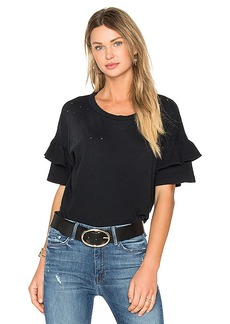 Current/Elliott The Ruffle Roadie Top in Black. - size 0 / XS (also in 1 / S,2 / M,3 / L)