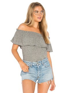 Current/Elliott The Ruffle Top in Gray. - size 1 / S (also in 0 / XS,2 / M,3 / L)