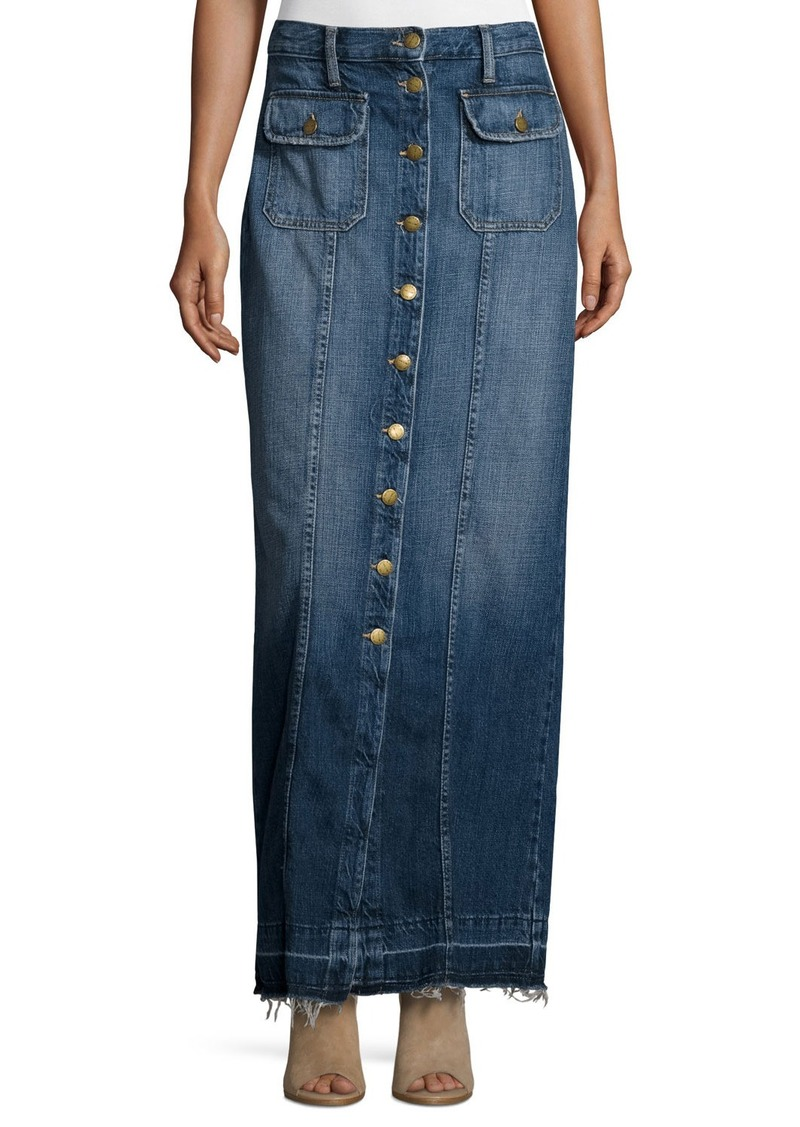 Current/Elliott The Sally Denim Button-Front Maxi Skirt