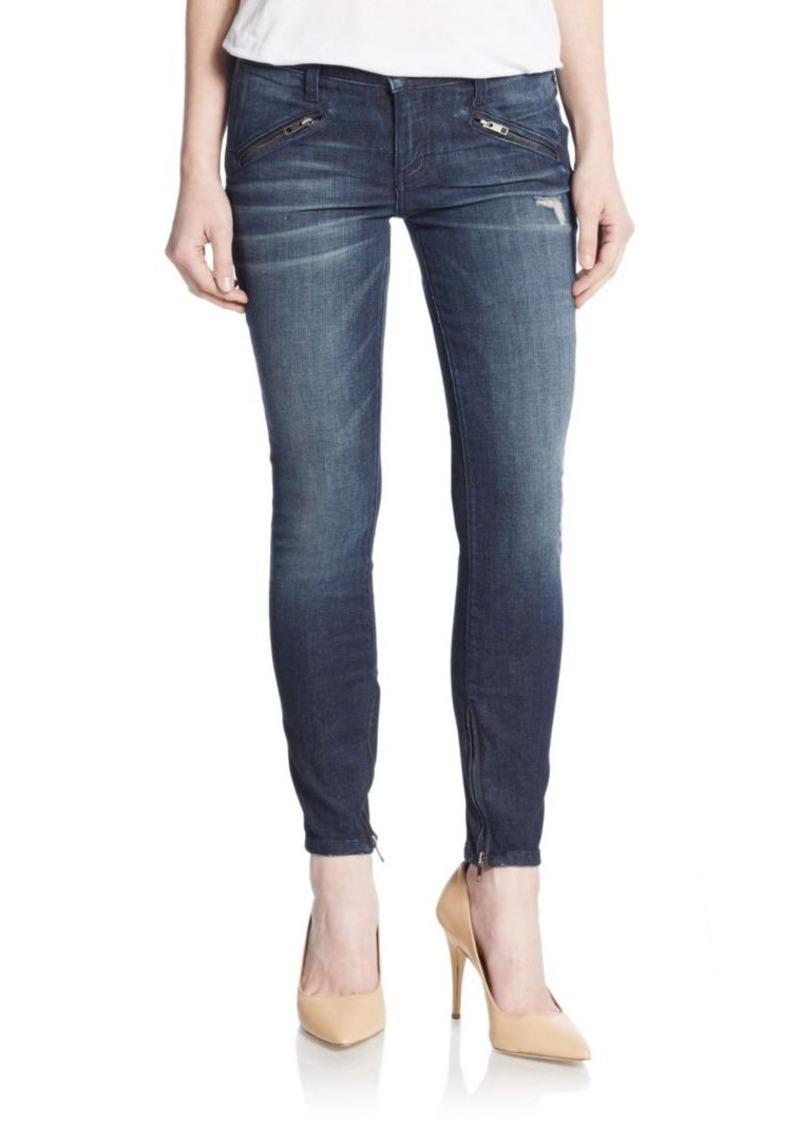 Current/Elliott The Silverlake Distressed Zip Skinny Jeans