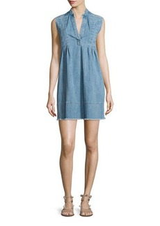 Current/Elliott The Sleeveless Tuck-Pleated Denim Dress