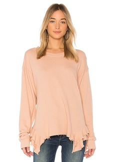 Current/Elliott The Slouchy Ruffle Sweatshirt in Rose. - size 0 / XS (also in 1 / S,2 / M,3 / L)