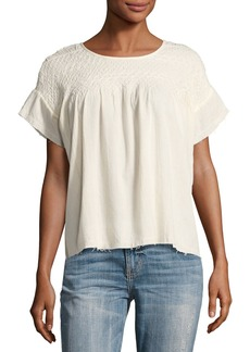 Current/Elliott The Smocked Cotton Tee Shirt