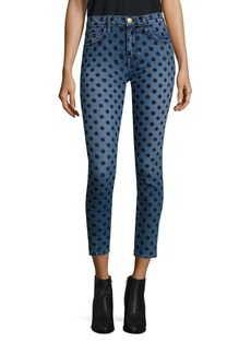 Current/Elliott The Stiletto Velvet Polka Dot Skinny Jeans