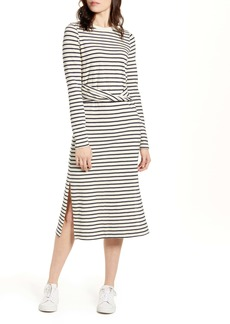 Current/Elliott The Studio Stripe Long Sleeve Cotton Blend Dress