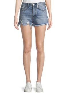 Current/Elliott The Ultra High-Waist Jean Shorts with Raw-Edge Hem