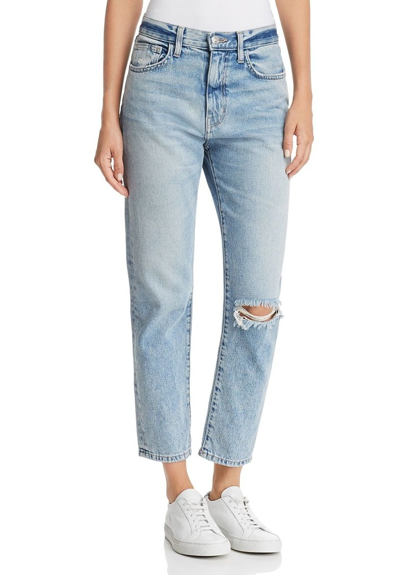 Current/Elliott The Vintage Cropped Slim Boyfriend Jeans in 2 Year Destroy Rigid Indigo