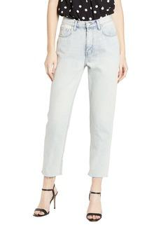 Current/Elliott The Vintage High Waist Crop Raw Hem Slim Jeans (Striped Indigo)