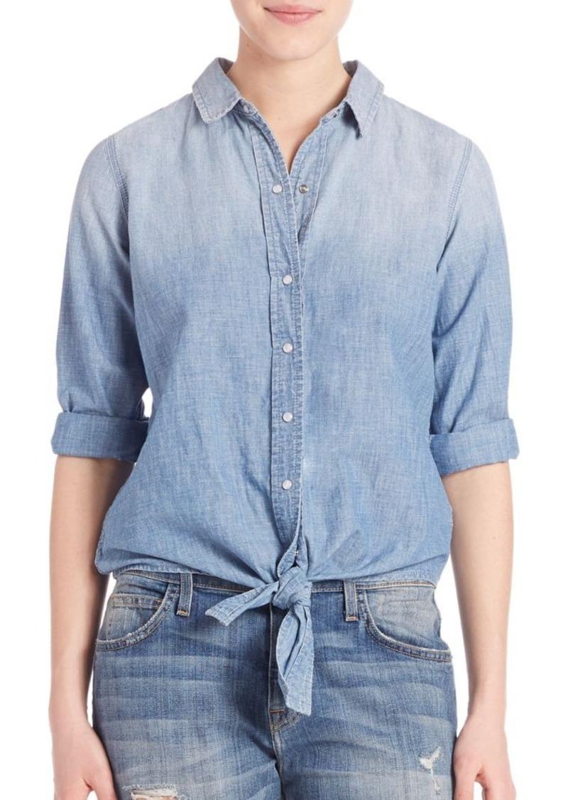 Current/Elliott The Western Tie-Front Denim Shirt