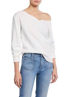 Current/Elliott The Whisper Off-Shoulder Cotton Sweatshirt