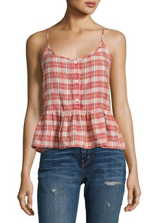 Current/Elliott The Workwear Plaid Peplum Top