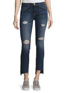 Current/Elliott Uneven Cut Distressed Skinny Jeans