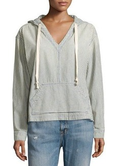 Current/Elliott V-Neck Striped Denim Hoodie