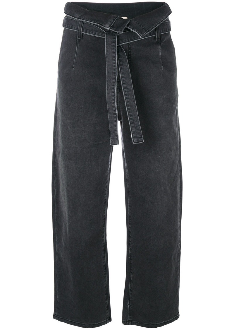 Current/Elliott wide-legged cropped jeans - Black