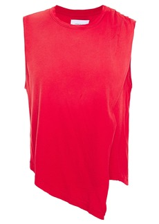 Current/elliott Woman Asymmetric Draped Cotton-jersey Top Red