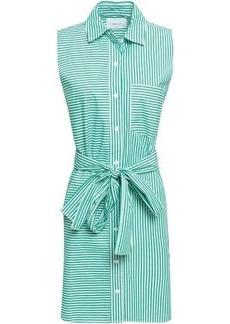 Current/elliott Woman Belted Striped Cotton-poplin Mini Shirt Dress Jade