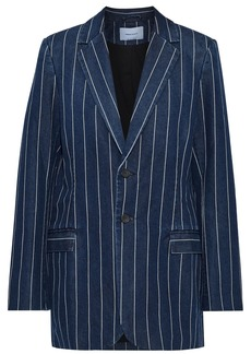 Current/elliott Woman The Calla Striped Cotton-blend Chambray Blazer Blue