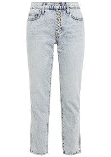 Current/elliott Woman Bleached Mid-rise Slim-leg Jeans Light Denim