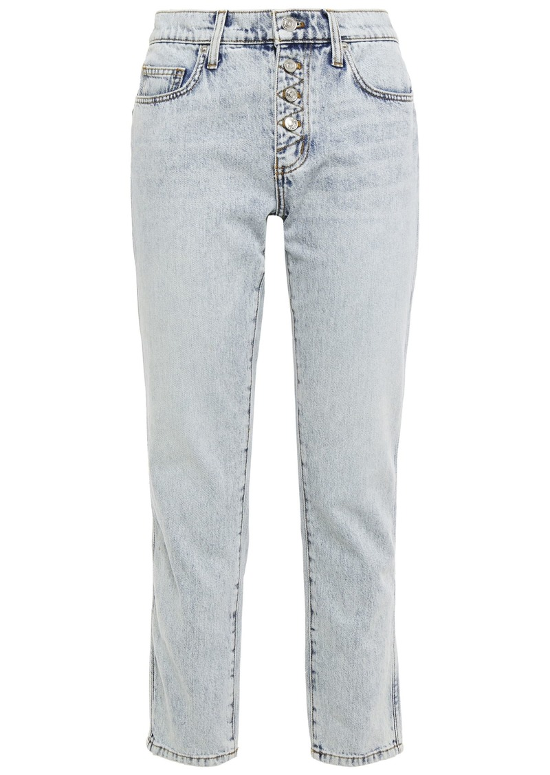 Current/elliott Woman Bleached Mid-rise Slim-leg Jeans Light Denim