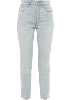 Current/elliott Woman Faded High-rise Skinny Jeans Light Denim