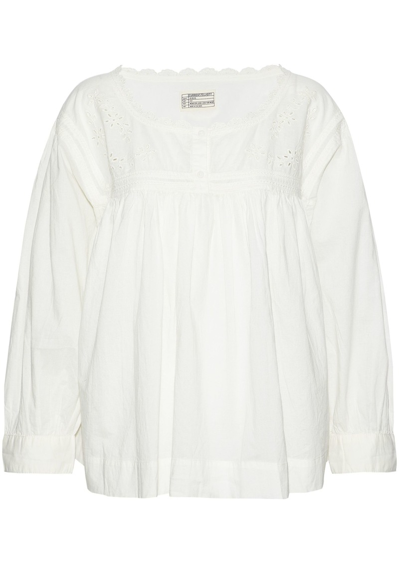 Current/elliott Woman Broderie Anglais-paneled Gathered Cotton Top Off-white