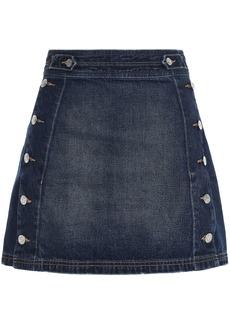 Current/elliott Woman Button-detailed Faded Denim Mini Skirt Dark Denim