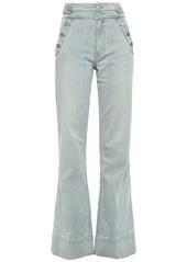 Current/elliott Woman Button-detailed High-rise Flared Jeans Light Denim