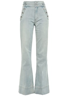 Current/elliott Woman Button-detailed High-rise Flared Jeans Light Denim
