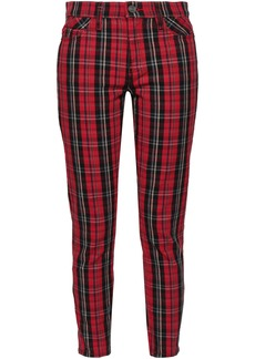 Current/elliott Woman Checked Cotton-blend Jacquard Skinny Pants Claret