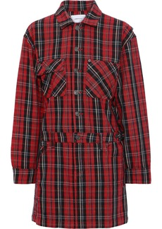 Current/elliott Woman Checked Cotton-blend Mini Shirt Dress Red
