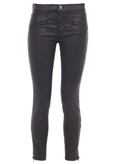 Current/elliott Woman Coated Mid-rise Skinny Jeans Black