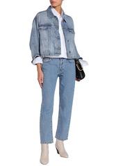 Current/elliott Woman Collin Cropped Faded Denim Jacket Mid Denim