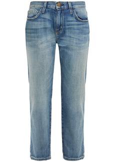 Current/elliott Woman Cropped Distressed Boyfriend Jeans Light Denim