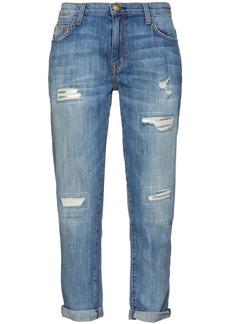Current/elliott Woman Cropped Distressed Boyfriend Jeans Mid Denim