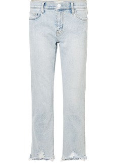 Current/elliott Woman Cropped Distressed High-rise Straight-leg Jeans Light Denim