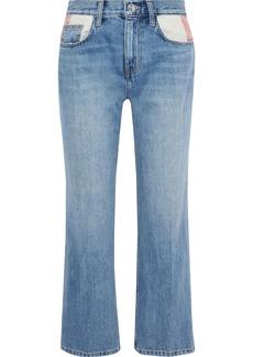 Current/elliott Woman Cropped Distressed Mid-rise Straight-leg Jeans Light Denim