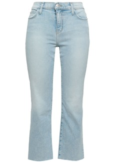 Current/elliott Woman Cropped Faded Mid-rise Bootcut Jeans Light Denim