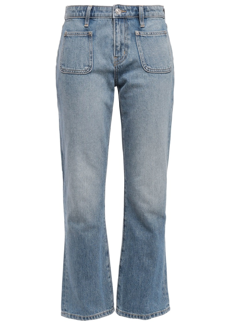 Current/elliott Woman Cropped Faded Mid-rise Bootcut Jeans Mid Denim