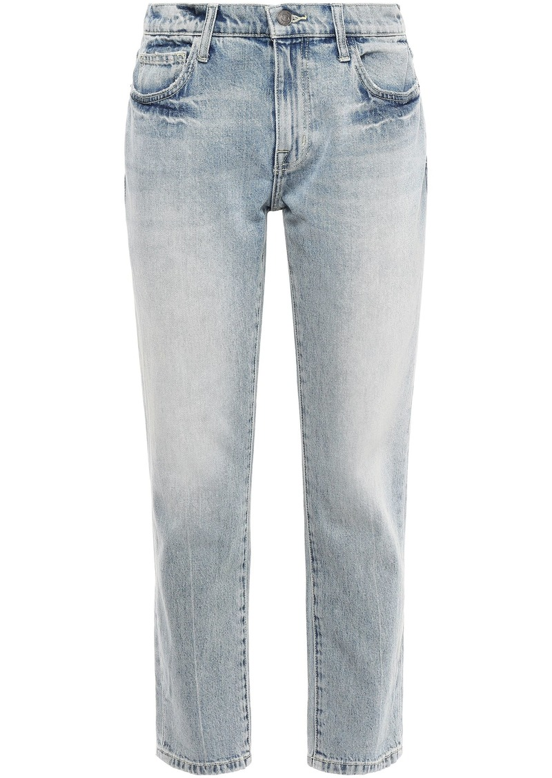 Current/elliott Woman Cropped Faded Mid-rise Straight-leg Jeans Light Denim