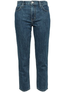 Current/elliott Woman Cropped High-rise Slim-leg Jeans Dark Denim