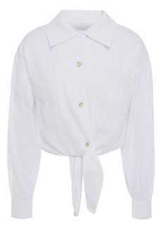Current/elliott Woman Cropped Knotted Cotton-gauze Shirt White