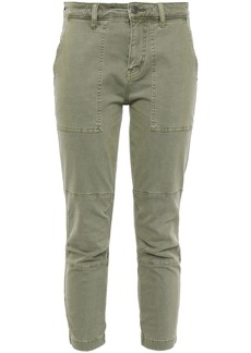 Current/elliott Woman Cropped Lace-up Cotton-blend Twill Slim-leg Pants Sage Green