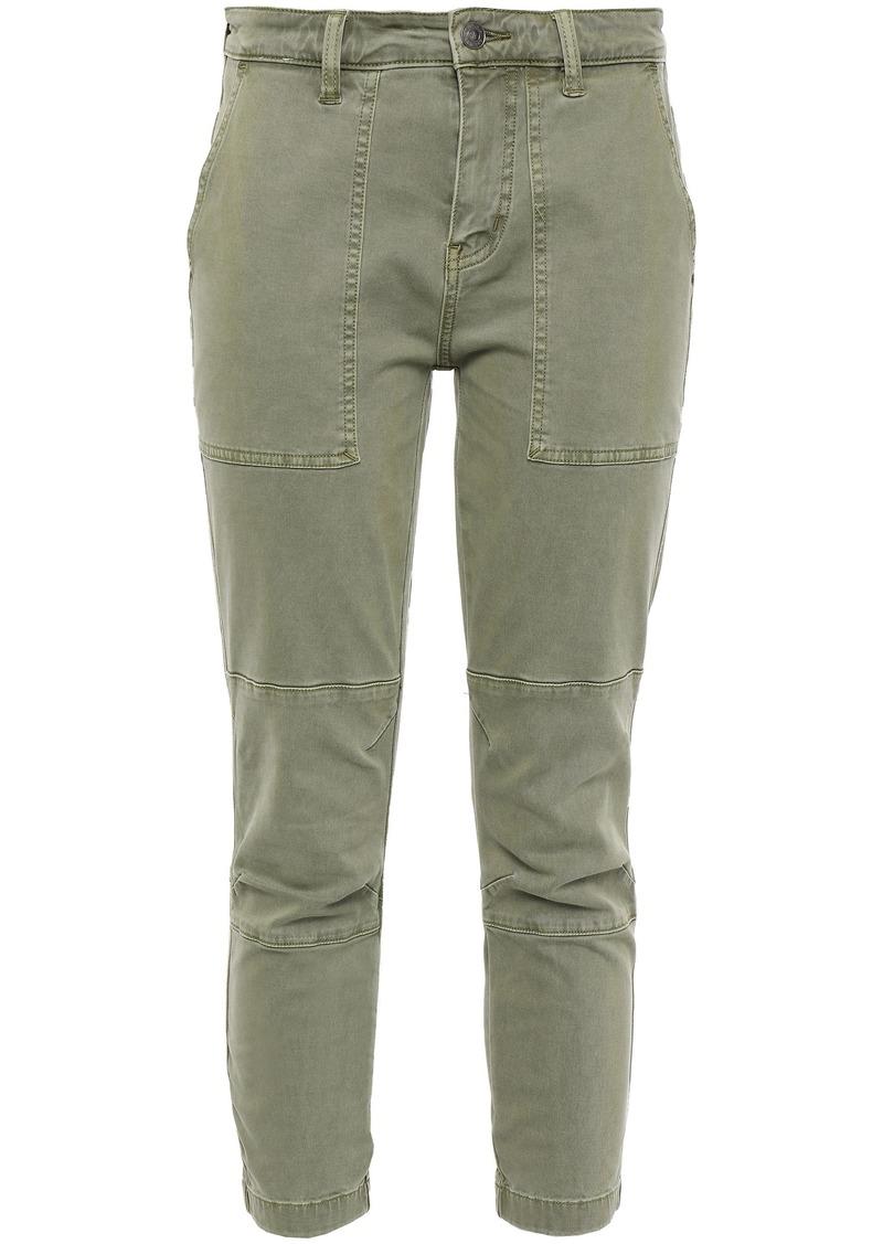 Current/elliott Woman Cropped Lace-up Cotton-blend Twill Slim-leg Pants Sage Green