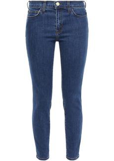 Current/elliott Woman Cropped Mid-rise Skinny Jeans Dark Denim