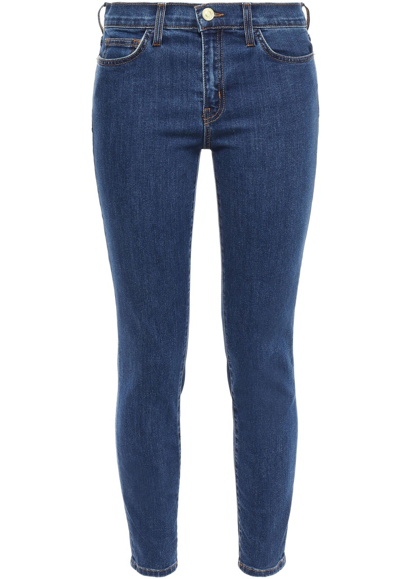 Current/elliott Woman Cropped Mid-rise Skinny Jeans Dark Denim