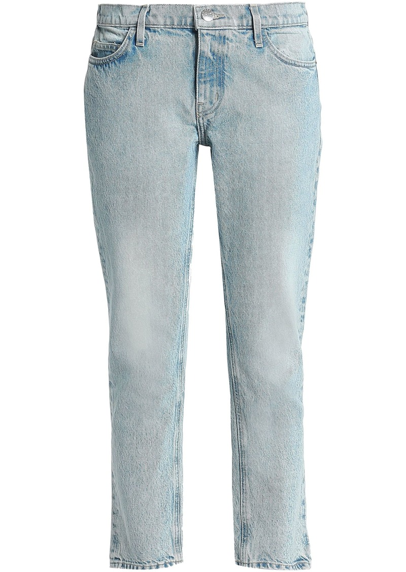 Current/elliott Woman Cropped Mid-rise Straight-leg Jeans Light Denim